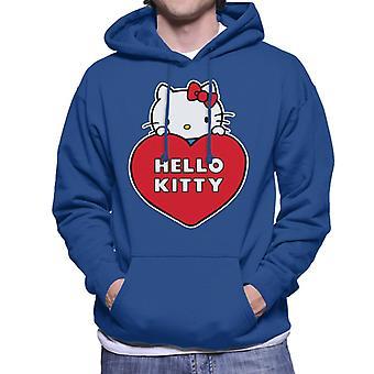 Hello Kitty kigger over Love Heart Men's Hætteklædte Sweatshirt