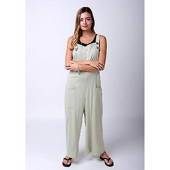 Amber loose fit jersey dungarees - groen