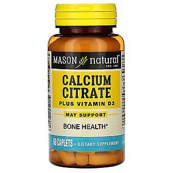 Mason Natural, Calcium Citrate Plus Vitamin D3, 60 Caplets