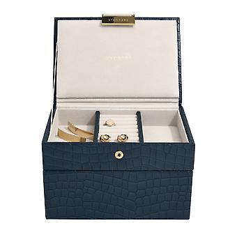 Stackers Navy Croc Mini Jewellery Box
