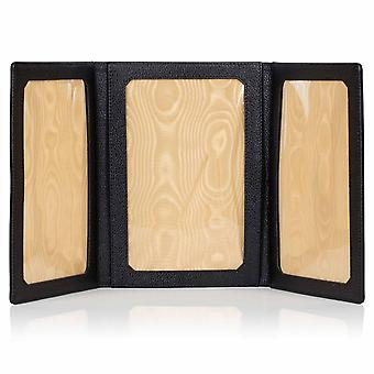 "Black Malvern Leather Triple Folding Photo Frame 6"" x 4"""