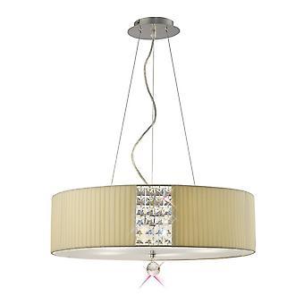 Plafond hanger ronde met Cream Shade 5 Licht gepolijst chroom, kristal