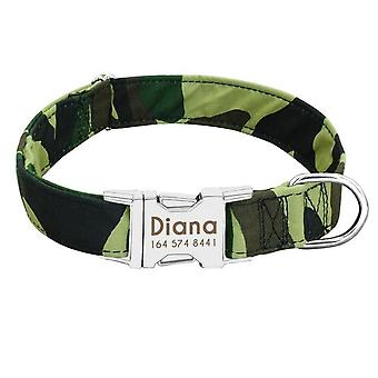 Adjustable Nylon Custom Nameplate Id Collars For Medium Large Dogs Engraved Pet Dog