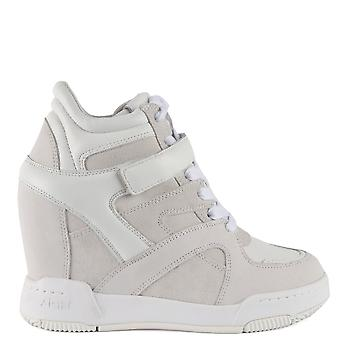 Ash BODY Wedge Trainers White Leather & Suede