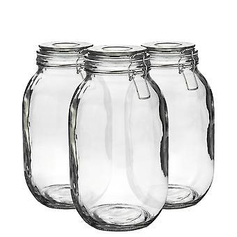 Argon Geschirr Glas Aufbewahrung Sandgläser mit luftdichten Clip Deckel - 3 Liter Set - weißes Siegel - Packung mit 6