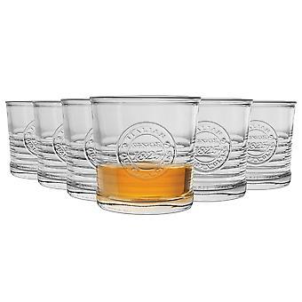 Bormioli Rocco Officina 1825 Ridged Double Old Fashioned Tumbler Glasses Set - 300ml - Pack of 6