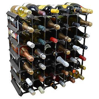 42 Bottle Wine Rack - Fully Assembled - Black Wood