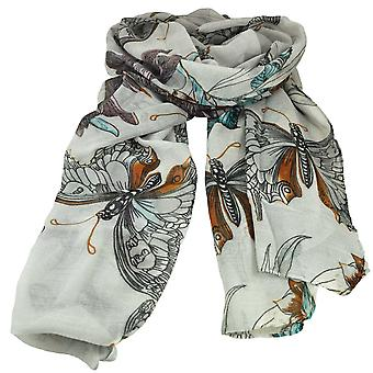 Ties Planet Butterfly & Birds Animal Print Silver White Lightweight Women's Châle Scarf