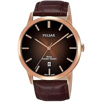 Pulsar Mens Brown Classic Leather Strap Rose Gold Case 50M Watch (PS9534X1)