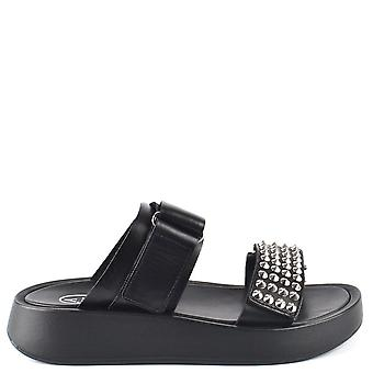 Ash VICTORY Sandals Black Leather & Silver Studs