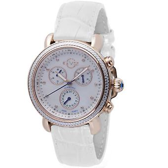 GV2-tekijä Gevril Women's 9803 Marsala Chronograph Diamond MOP Dial Leather Watch