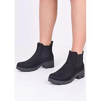 Plate-forme Cleated Heel Suede Chelsea Ankle Boots Noir