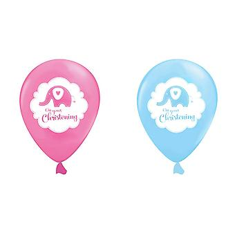 Creative Party 12 Inch Elephant Design Christening Balloons (Pack Of 6)