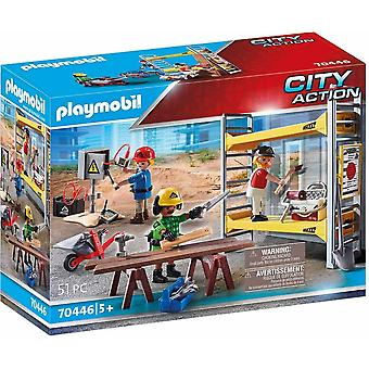 Playmobil 70446 city action construction scaffold with workers