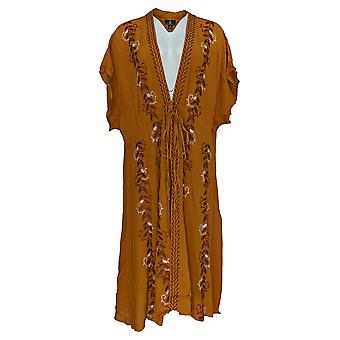 Curations Women's Plus Sweater Embroidered Gauze Kaftan Orange 688-950