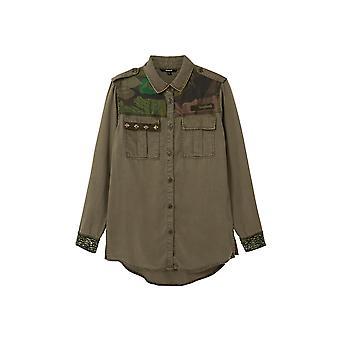 Desigual Khaki Camoflower Long Shirt Embellished Luxury 20WWCN01
