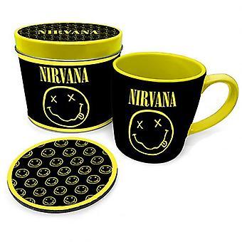 Nirvana Becher & Untersetzer Geschenk Zinn