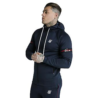 SikSilk Exposed Tape Zip Through Hoodie - Navy