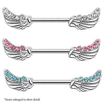 Nipple piercing barbell - pair of angel wing design with cz gems