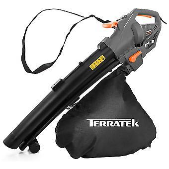 Terratek 3000W Leaf blower Garden Vacuum and Shredder, 35L Leaf Collection Bag