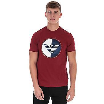 Menn's Armani Circular Print T-skjorte i rødt