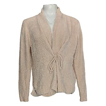 Anybody Women's Sweater Chenille Tie-Front Shawl Neck Cardigan Pink A372139