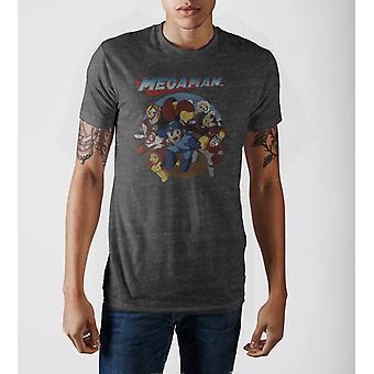 Capcom megaman characters vintage logo charcoal grey crew neck print t-shirt