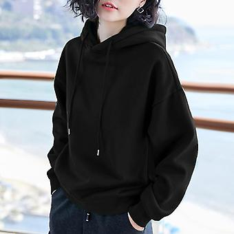 Velvet Basic Hoodies, Female Winter Solid Colour, Casual Sweatshirt