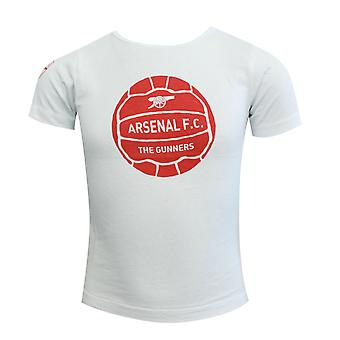 Arsenal AFC The Gunners Graphic Youths White T-Shirt Boys Cotton Tee A7830 UA158