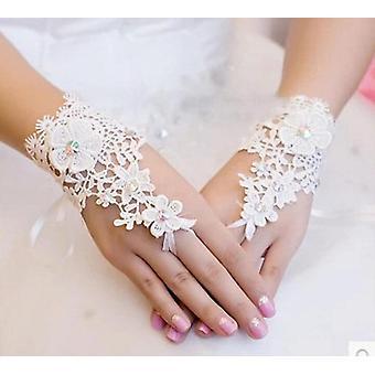 Beaded Lace Fingerless Wedding Gloves