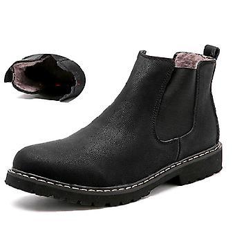 Chelsea Winter, Split Leather Shoes, Warm Plush Fur Boots