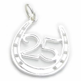 25 In Hoefijzer Sterling Silver Charm .925 X 1 25th Wedding Anniversary - 4750