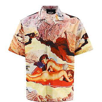 Msgm 3040me1521702023 Mænd's Flerfarvet bomuldsskjorte