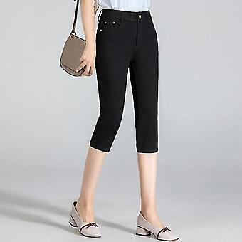 Summer- High Waist, Skinny Capris Stretch, Knee Length, Denim Jeans, Shorts