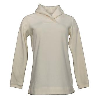 Denim & Co. Damen's Top (XXS) Chenille Fleece Langarm weiß A299214