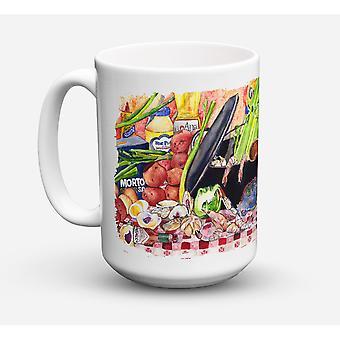 Caroline's Schätze 8825CM15 Gumbo und Kartoffelsalat Microwavable Keramik Kaffeebecher, 15 Unzen, Multicolor