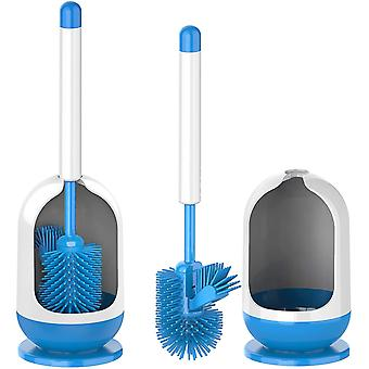MR.SIGA Soft Bristle Toilet Brush Set - Pack of 2, Dia 12cm x 41cm Height, White and Blue