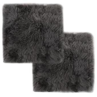 vidaXL Chair cushion 2 pcs. light grey 40x40 cm Genuine sheepskin