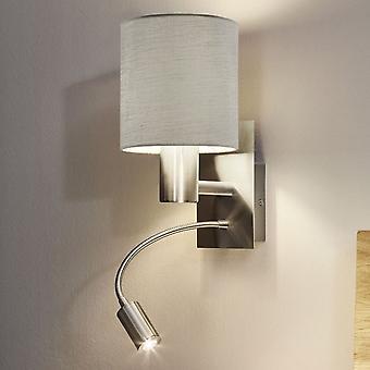 Luz de pared Eglo Pasteri con sombra taupe y lector LED