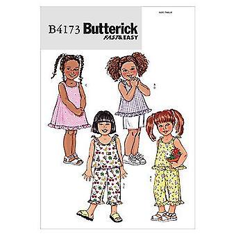 Butterick ompelu kuviot 4173 Taaperot Lapset Top Mekko Shortsit Housut Koko 1-3