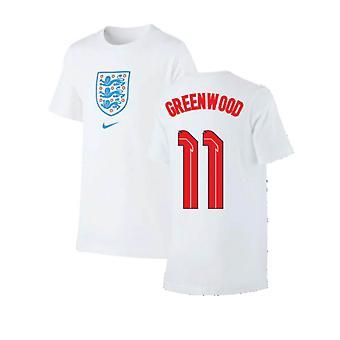 2020-2021 England Nike Evergreen Crest Tee (Vit) (Greenwood 11)
