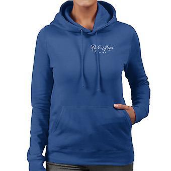 Cafe del Mar Classic White Logo Pocket Print Women's Hooded Sweatshirt
