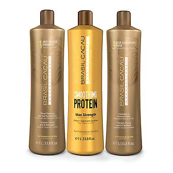 Brasil Cacau hair smoothing protein kit 1l includes 3 products