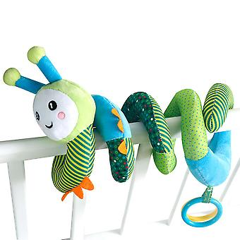 Cartoon Green Caterpillar Baby Spiral Toy Cute Stroller Hanging Toy With Colorful Pull Ring Plush Activity Sipral