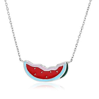 Sterling Silver 18 inch Necklace with Enameled Watermelon Slice