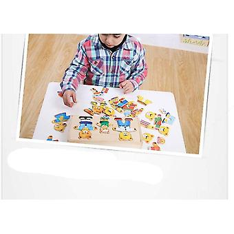 DZK Wooden Bear Family Dress-Up Puzzle Game With Storage Case, 72 pieces