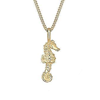 Elli halskæde med vedhæng i form af en søhest til kvinder i sølv, gul guldbelagt, 45 cm