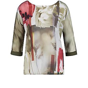 Taifun T-Shirt 3/4 Arm, Olive with Pattern, 46 Woman