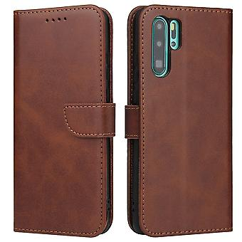 Flip folio leather case for huawei p40 lite brown pns-1287