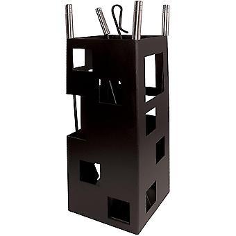 der Fuchs 10098 Set für Kamin, quadratisch Nützliche Inox, 50 x 20 x 20 cm) schwarz